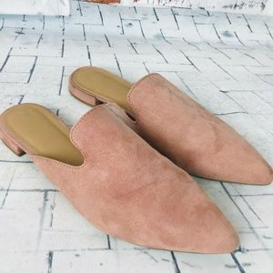 A New Day Velma Leather Slip On Pointed Toe Mules